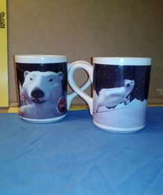 "2 - 1996 Coca Cola Polar Bear Collectible Mugs ""Cool"" & Ski Jump  #Gibson"