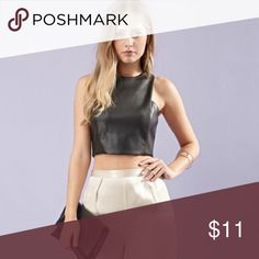Faux leather crop top🌈 Faux leather crop top ~ Forever 21 ~ fully lined ~ back zipper ~ like new ❣️ wore once   {{{ Bundles of 2 items = 15% off / Bundles of 3 items = 20% off }}} Forever 21 Tops Crop Tops