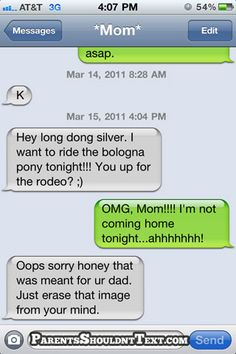 Funny Text Messages from Mom & Dad Why Parents Shouldn't Text! ~ 29 Funny Texts from Mom & DadWhy Parents Shouldn't Text! ~ 29 Funny Texts from Mom & Dad Dad Texts, Funny Texts To Send, Funny Texts From Parents, Funny Wrong Number Texts, Drunk Texts, Text Messages Mom, Funny Messages, Life Humor, Mom Humor