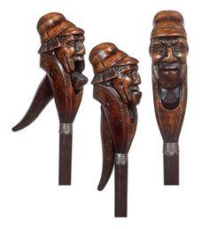 . Nutcracker Cane-Circa 1900-An expertly carved :