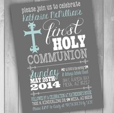 First Holy Communion Invitation 1st Communion by CLaceyDesign, $15.00