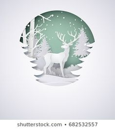 Winter Snow Urban Countryside Landscape City Stock Vector (Royalty Free) 522579406 - Winter Snow Urban Landscape Village With Full Moon New Stock Vector (Royalty Free) 522579406 - New Year Illustration, Winter Illustration, Christmas Landscape, Christmas Art, 3d Paper Art, Paper Crafts, Winter Diy, Winter Snow, Winter Forest