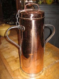 Antique copper milk jug from France Copper Pots, Copper And Brass, Antique Copper, New Home Wishes, Eclectic Modern, Copper Accents, Milk Jug, Moscow Mule Mugs, Teapots