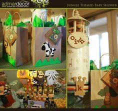 I like the Party Favor/Prize bags! And the Character bag puppets.   jungle theme baby shower ideas