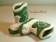 love these!!! want them for the baby...green for a boy, or red for a girl :) smb- Baby Booties  Light forest green & natural Cowboy Boots  PLEASE STATE SIZE. $18.00, via Etsy.