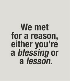 a blessing or a lesson