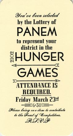 Hunger Games Party Invitations what are you hungry for? Enrichment night.