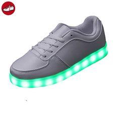 (Present:kleines Handtuch)Weiß-2 EU 36, Blitzen Farbwechsel Turnschuhe Licht Schuhe Jungen JUNGLEST® Schuhe Farben USB Unisex LED mode Damen
