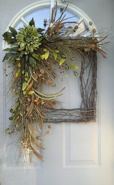 Fall before the Finally of color /// Fall Grapevine square wreath Wild Sage Beauty. by bndd Diy Fall Wreath, Wreath Crafts, Summer Wreath, Holiday Wreaths, Grapevine Wreath, Christmas Decorations, Wreath Ideas, Fall Diy, Christmas Arrangements