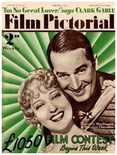 "Jeanette MacDonald and Maurice Chevalier on cover of ""Film Pictorial"" magazine, February 1935"