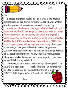 Editable Student End of Year Letter Freebie This student end of year letter is exactly what I have sent home at the end of the year.  The paragraph in red is what I change to make each letter a bit more personalized. I hope you enjoy it for years to come!