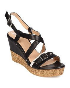 485430235296 Betani Women Leatherette Two-Toned Open Toe Strappy Wooden Platform Wedge  Sandal