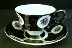 Bone China Cup & Saucer Pink Rose Medallions Gold Trim MI Japan Excellent