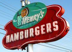 Henrys Hamburgers Vintage Neon Sign - Benton Harbor, Michigan - 5/12/09 by randomroadside, via Flickr