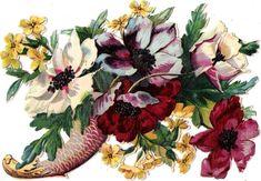 Oblaten Glanzbild scrap die cut chromo Blume flower 14 cm