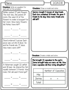 """This is a set of worksheets for the third grade math standard 3.OA.D.8 which is """"Solve two-step word problems using the four operations. Represent these problems using equations with a letter standing for the unknown quantity. Assess the reasonableness of answers using mental computation and estimation strategies including rounding."""" Word Problems 3rd Grade, 3rd Grade Words, Third Grade Math, Grade 3, P Words, Math Words, Line Math, Solving Equations, Phonics Worksheets"""