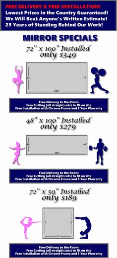 Free Delivery and Free Installation. Lowest Prices in the Country Guaranteed. We will beat anyone's Written Estimate. 25 Years of Standing B. Dream Studio, Home Studio, Dance Mirrors, Home Gym Mirrors, Dance Rooms, Home Dance, Psoriasis Cure, Diy Mirror, Giant Mirror