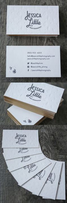 Sweet Letterpress Gold Edge Painted Business Cards For A Wedding Photographer