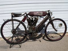 Original 1908 Indian Twin Racer with limited patina paint work on wheels and oil tank painted by Dutch Bros. Garage   Contact info: dutchbrosgarage@gmail.com