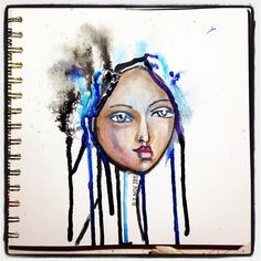 Day 7 #15minsnanojoumo  Yikes worst one so far. Wasn't feeling this one throughout went over time to finish it up then spilled a big blob of opaque pearlescent ink on her whole right eye  I do love the drips and the top left part of the hair. Lots of learning going on loving it!  #nanojoumo #portrait #whimsical #mixedmedia #artjournaling #irisimpressionsart