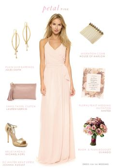 Pink, gold, and mauve look for bridesmaids