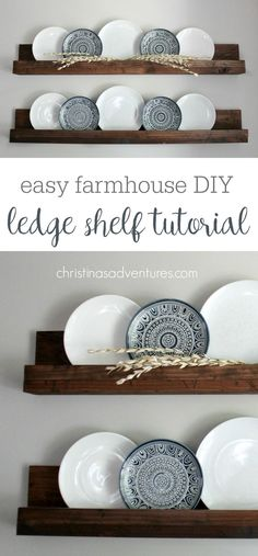 These farmhouse style shelves will take about 30 minutes & less than $20! Such a versatile DIY project - decor can be easily changed out every season! More Dinning Room Shelves, Dinning Room Wall Decor, Plate Wall Decor, Dining Room Decorating, Farm House Dinning Room, Kitchen Wall Decorations, Wall Decor For Kitchen, Dinning Room Ideas, Shelf Decorations