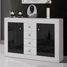 Commode blanc et noir laqué design