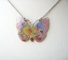 Vintage signed Vogue enamel butterfly necklace by lolatrail