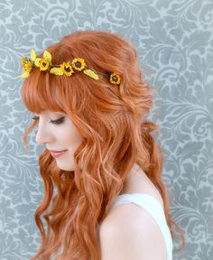 Sunflower crown, floral headband, rustic hair band, fall weddings, hair accessories on Etsy, $30.00