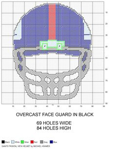 New York Giants NFL Frontal View Football Helmet plastic canvas pattern by Michael Kramer Plastic Canvas Crafts, Plastic Canvas Patterns, Cross Stitch Charts, Cross Stitch Patterns, Nfl Team Colors, Fillet Crochet, Charts And Graphs, Perler Patterns, Plastic Sheets