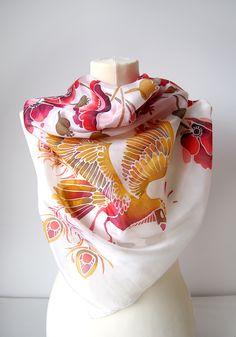 "Painted by Luiza Malinowska #minkulul Silk scarves ""Poppies and Firebird"" can be found on Etsy in my shop: www.minkulul.etsy.com"