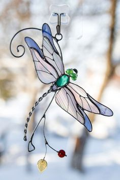Dragonfly stained glass suncatcher wanderlust gift Mothers day gift custom stained glass window hangings anniversary gift for wife - Cool Glass Art Designs Dragonfly Stained Glass, Custom Stained Glass, Stained Glass Ornaments, Stained Glass Suncatchers, Stained Glass Crafts, Stained Glass Designs, Stained Glass Panels, Stained Glass Patterns, Mosaic Glass