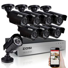ZOSI 8-Channel 1080N HD-TVI DVR Surveillance Camera Kit 8x 1280TVL Indoor Outdoor IR Weatherproof Cameras 65feet 20m Night Vision with IR Cut NO Hard Drive