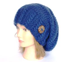 Items similar to Slouchy beanie hat navy blue slouch hats beanies dark blue  accessory for women chunky knitted hat irish handknit hats wool Etsy  Ireland ... e492af005ef5
