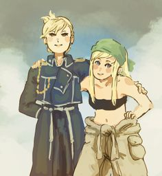 Riza and Winry by caprette I have this theory that when Ed, Al, and Roy go places to investigate or find info or something Riza and Winry are always back at whatever headquarters the boys are currently stationed and just shaking their heads and telling each other embarrassing stories about eachothers boyfriends and waiting for them to come home bloody and bruised.