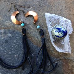 midnight moon. copper moon and howlite by TheWhimsyEmporium