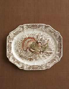 Perhaps the most popular platter portrayal is the standing cock and hen pattern called Native American ($425).    Read more: Turkey China Transferware - Thanksgiving Dinner - Country Living Turkey Platter