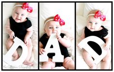 "Father's Day photo card with a baby in a bow holding the letters ""D-A-D."""