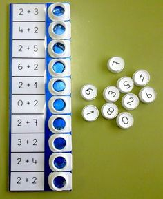 Awesome DIY math activity using milk/juice carton openings and caps! Will have to do this when Taegan is older!