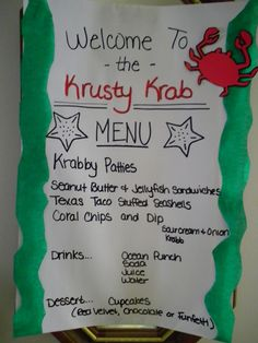 "If you decide to have food (even snacks), what a cute idea to have a ""Krusty Krab"" menu :) Spongebob Birthday Party, 6th Birthday Parties, Spongebob Party Ideas, Spongebob Crafts, Birthday Ideas, 12th Birthday, Boy First Birthday, First Birthdays, Sponge Bob"