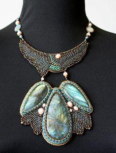 Beautiful embroidered jewelry by Nella Moskvicheva