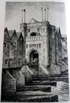 The Drawbridge Gate of Old London Bridge. Built in 1428 and pulled down in 1577 when Nonsuch House was erected. Until that date the heads and quarters of traitors were exposed on poles on this gate. Drawing base on that of Antony van den Wygaerde c1550. From Old London Bridge by Gordon Home.