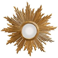 Convex Gilded Sunburst Mirror from Spain | From a unique collection of antique and modern sunburst mirrors at https://www.1stdibs.com/furniture/mirrors/sunburst-mirrors/