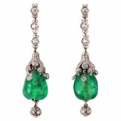 Luscious emerald green....Cabochon Emerald and Diamond Art Deco Pendant Earrings by nadine