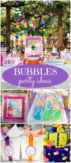 A bubble party is such a fun theme for a toddler's birthday! See more party ideas at http://CatchMyParty.com!