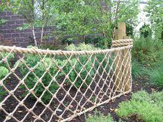 Machine Made Netting Archives - Suncoast Tiki Huts, Inc. Rope Fence, Rope Railing, Deck Railing Design, Patio Railing, Nautical Theme Bedrooms, Zip Line Backyard, Backyard Fences, Landscape Design, Garden Design