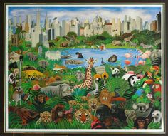 """""""It's a Jungle Out There"""" by Margaret Keane (Margaret Keane used to paint sad faces until she became one of Jehovah's Witnesses). Now she thinks about God's plans to make a Paradise."""