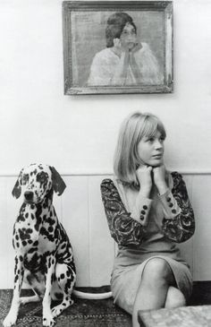 Marianne Faithfull with her pet Dalmatian, 1964.