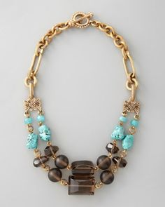 Stephen Dweck Turquoise & Smoky Quartz Necklace in April Fashion 2013 from Neiman Marcus on shop.CatalogSpree.com, my personal digital mall.