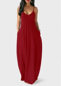 Open Back Pocket Decorated Maxi Dress | Rosewe.com - USD $23.63